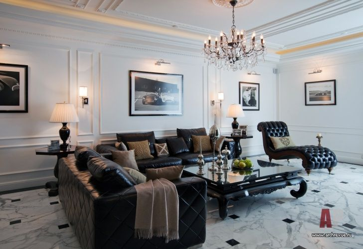 Фото интерьера зоны отдыха квартиры в стиле неоклассика