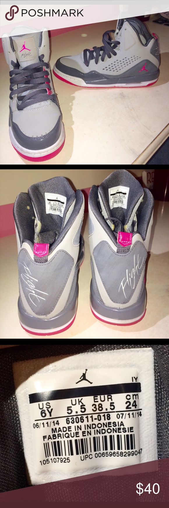 Flight Jordan shoes Pink, grey, white and pink high top Jordan flight shoes. Worn once! Very cute shoes! Size 8 Jordan Shoes Sneakers