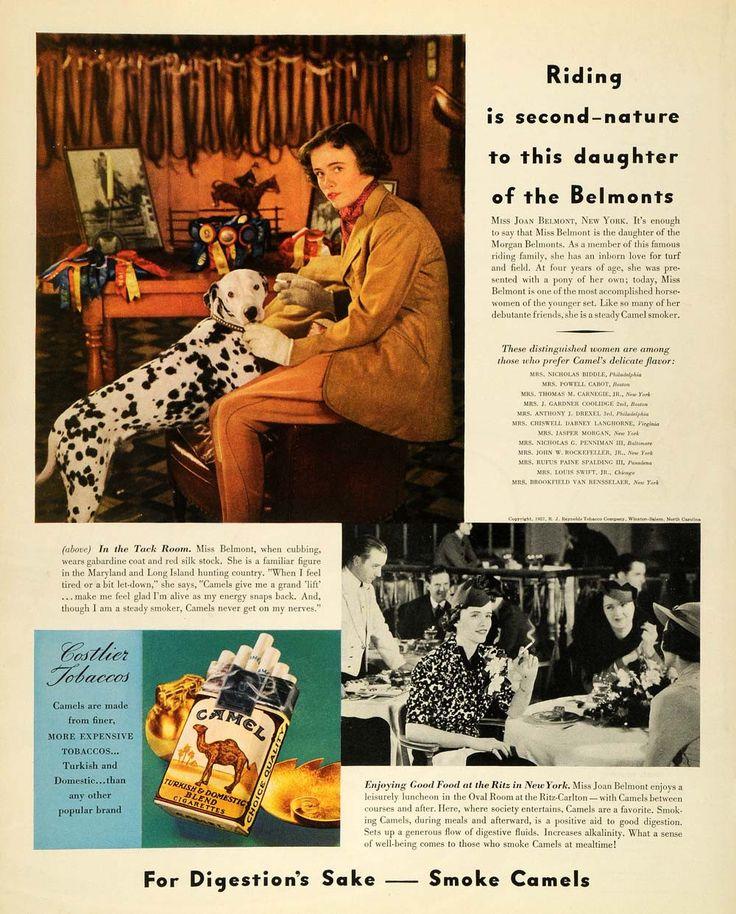 1937 Ad Camel Cigarettes Joan Belmont Dalmatian Equine - ORIGINAL MCC5
