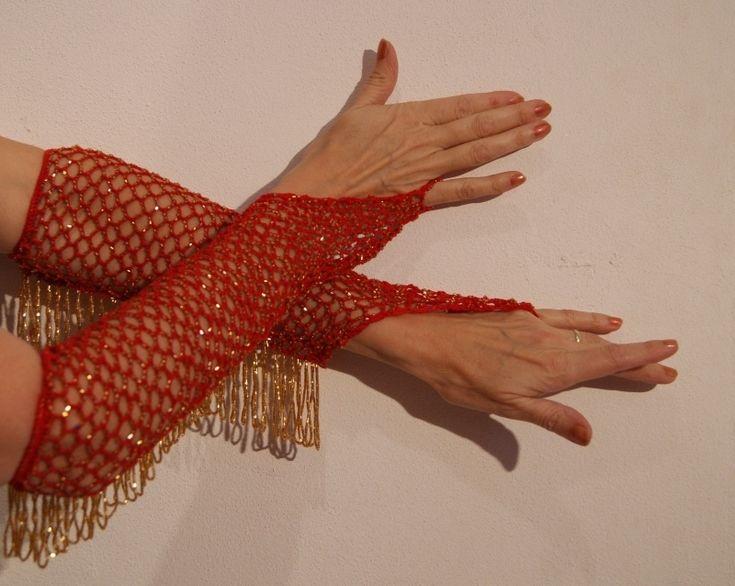 Handschoenen gehaakt rood met gouden kraaltjes H2g | Rood - Lady in Red | buikdanswinkel-webshop