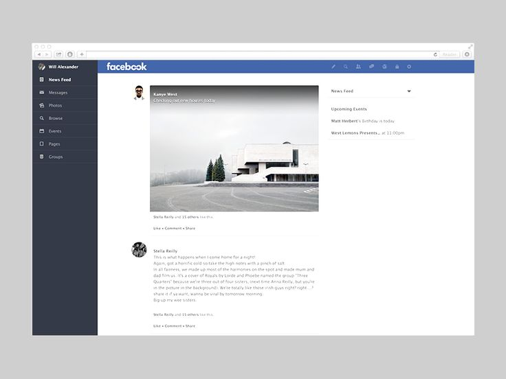 Facebook Redesign by William Alexander