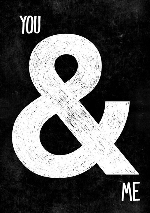 A3 Black  White apartment decor Ampersand by blackandtypeshop
