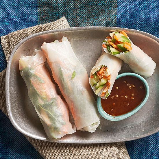 Pack these colorful, crunchy spring rolls in a bento box for lunch, and bring soy sauce for dipping in a separate container (or, pack a few of those packets you never seem to use up in another compartment of the bento box)./