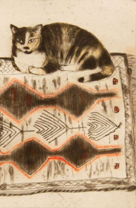 Elizabeth Blackadder (Escocia, 1931). Kikko on a Rug (detail), 2003.