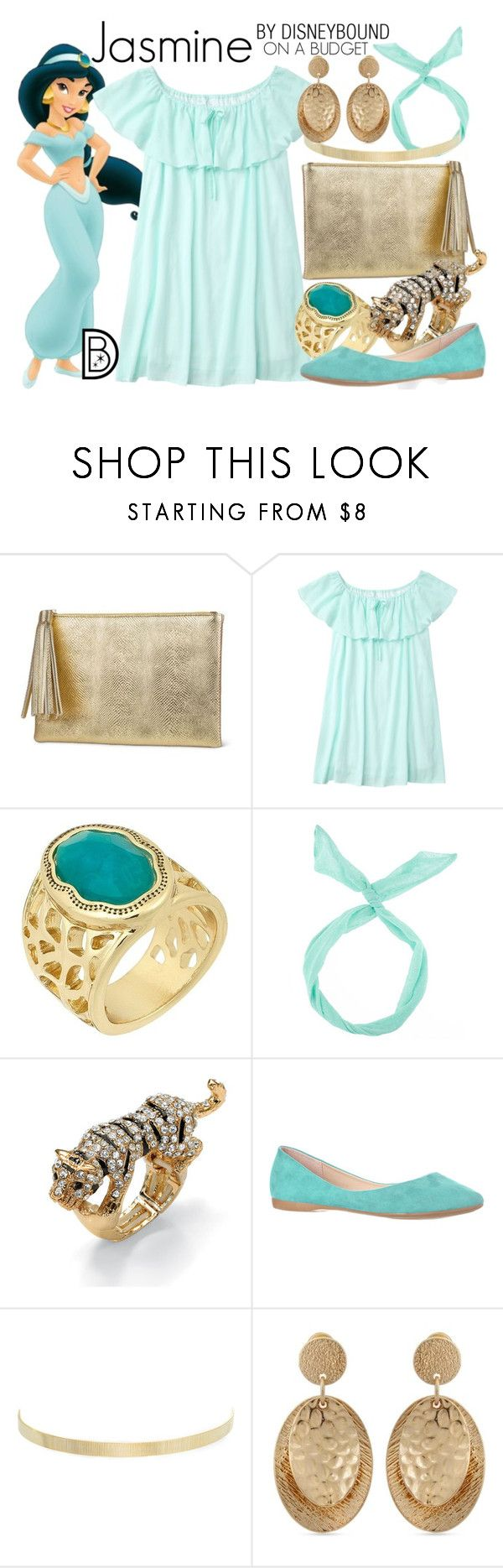 """""""Jasmine"""" by leslieakay ❤ liked on Polyvore featuring Jessica McClintock, Laundry by Shelli Segal, Palm Beach Jewelry, Kenneth Jay Lane, Erica Lyons, disney, disneybound and disneycharacter"""