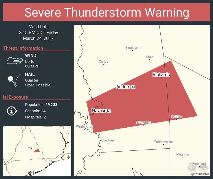 Severe Thunderstorm Warning including Navasota TX, Montgomery TX, Anderson TX until 8:15 PM CDTpic.twitter.com/mLIlZ26UNy - https://blog.clairepeetz.com/severe-thunderstorm-warning-including-navasota-tx-montgomery-tx-anderson-tx-until-815-pm-cdtpic-twitter-commlilz26uny/