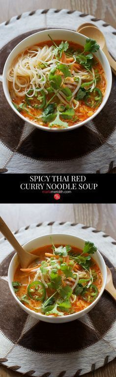 Spicy Thai Red Curry Noodle Soup #recipe. Best #soup you will ever eat! Kid…