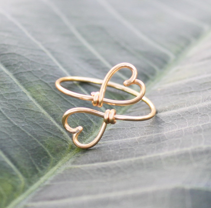 Gold Wire Double Hearts Ring  Heart To Heart Ring by FabulousWire, $12.99
