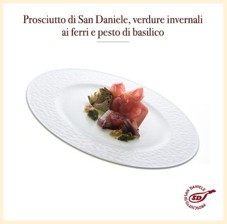 #Prosciutto di #SanDaniele, verdure invernali ai ferri e pesto di basilico. http://www.prosciuttosandaniele.it/home_prosciuttosandaniele.php?n=392&l=it