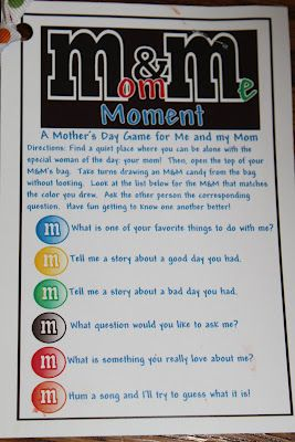 Here is a fun game to do with your kids on Mother's Day!