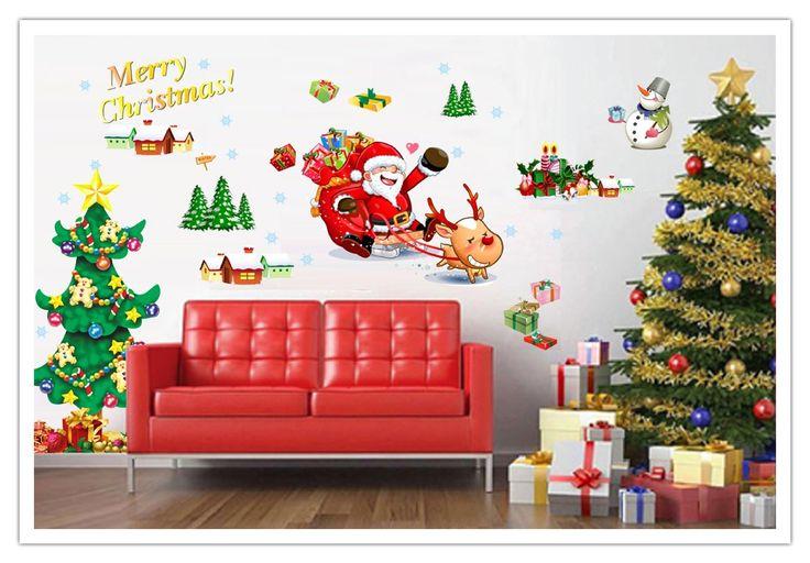 cheap wall decals - YYone Christmas Santa Claus Sled Christmas Tree Wall Decal Decor Gift for Kid Merry Christmas Home Decor -
