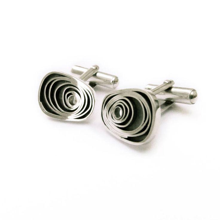 Retro Silver Spiral Cufflinks