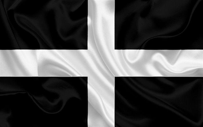 Scarica sfondi La contea di Cornovaglia, Bandiera, Inghilterra, bandiere delle contee inglesi, Bandiera della Cornovaglia, British Contea di Bandiere, di seta, bandiera, Cornwall