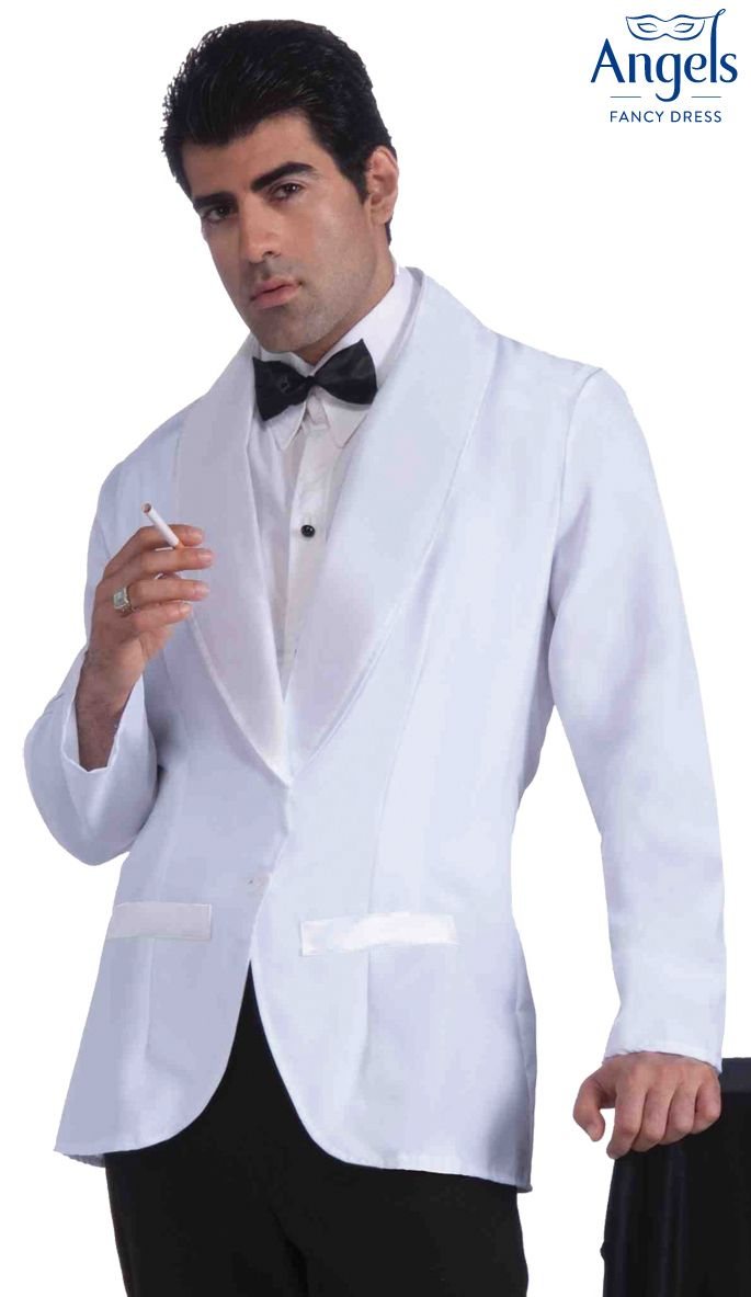 "The Formal White Jacket includes a jacket with attached shirt front and tie. This is a one sized costume designed to fits up to 42"" chest. Perfect for a 1920s, New Year or James Bond fancy dress party. http://www.fancydress.com/costumes/Formal-White-Jacket/0~4347853"
