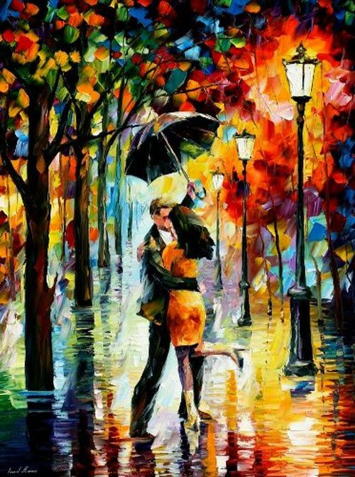 Dance Under The Rain - Pallete Knife Original Recreation Oil Painting On Canavs By Leonid Afremov