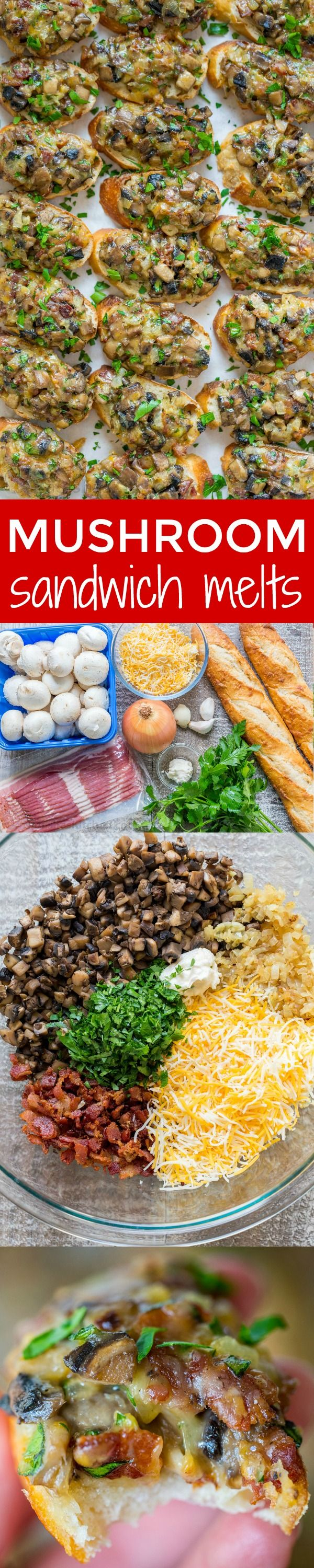 Cheesy bacon mushroom sandwich melts with make-ahead option! Mushrooms, cheese and bacon are a winning combination. These mushroom melts fly of the plate!   natashaskitchen.com
