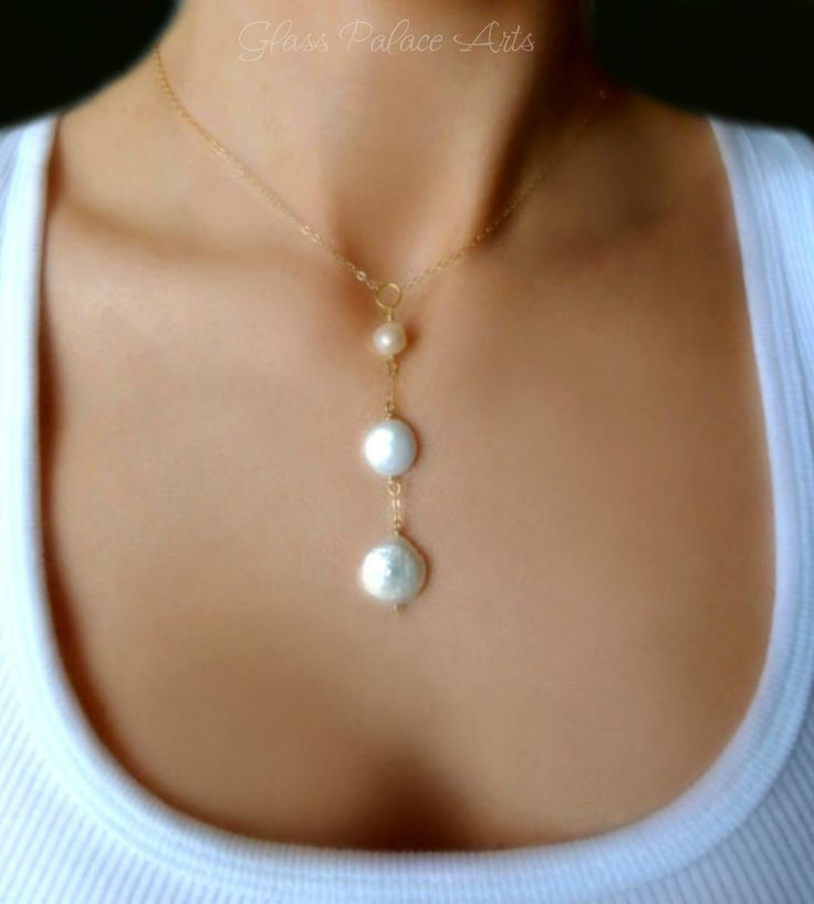 Freshwater Pearl Statement Y Drop Necklace - In Gold or Sterling Silver
