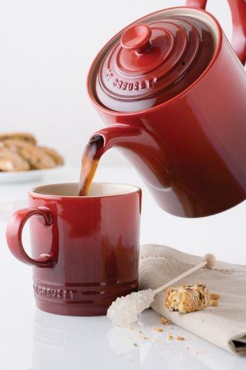 link to Le Creuset breakfast collection · mug, espresso mug, butter dish, cream, classic teapot & grand teapot