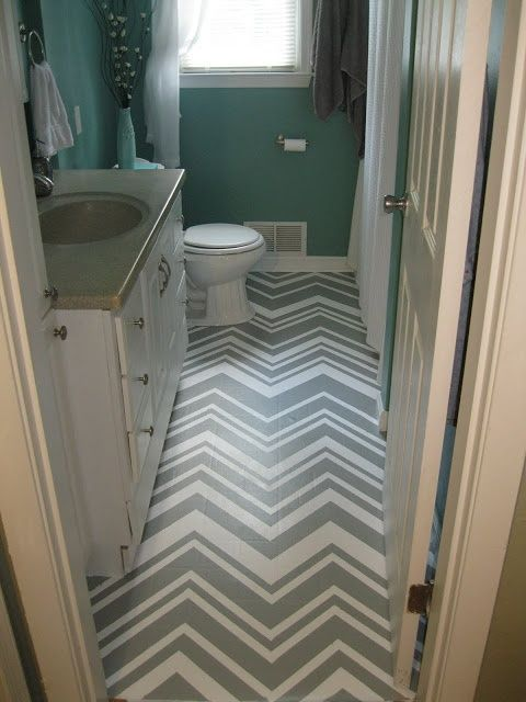 Painted chevron over vinyl flooring d i y pinterest for Painting over vinyl floor