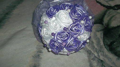 MelinetDecorCrochet / Svadobná kytica fialovo-biela