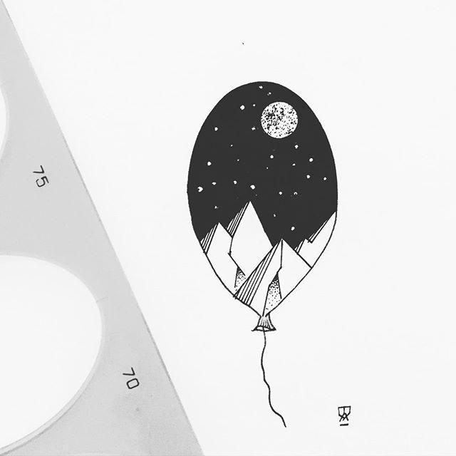 Evening doodle. #illustration #illustrator #design #sketch #drawing #doodle #draw #art #artist #instaart #artwork #artistic #blackwork #blackworkers #blackandwhite #dotwork #linework #moon #night #mountains #abstract #minimal #landscape #tattoo #tattoodesign #balloon #evasvartur #instafollow