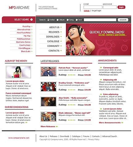 Portal Music Website Templates by Flayer