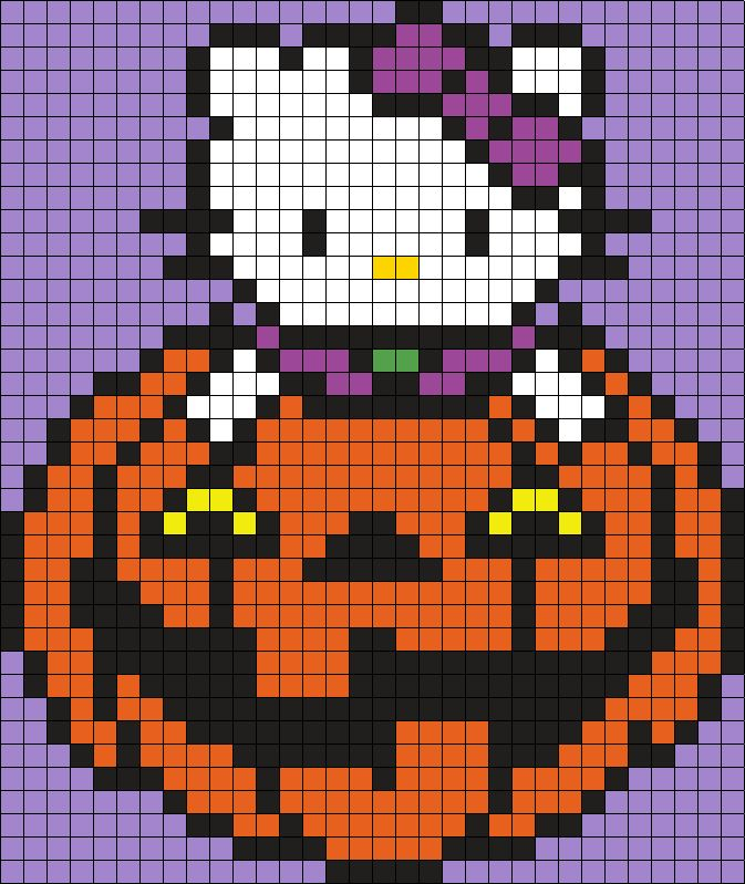 Halloween Hello Kitty Perler Bead Pattern