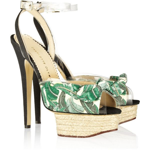 Charlotte Olympia Serena printed canvas sandals (£330) ❤ liked on Polyvore featuring shoes, sandals, heels, charlotte olympia, green shoes, green sandals, heeled sandals, strap heel sandals, strappy heeled sandals and platform sandals