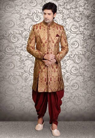 Beige Art Silk Brocade Readymade Sherwani