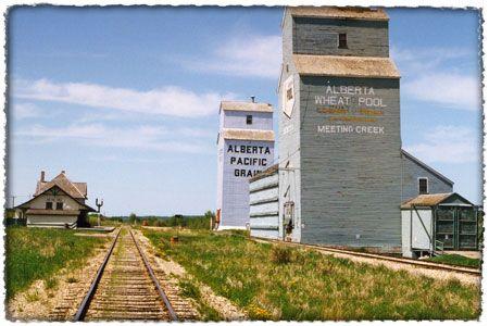 A classic Canadian prairie railway scene: the view northwest at Meeting Creek, 1987