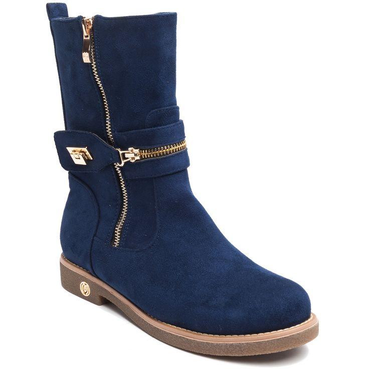 Blue suede bootie