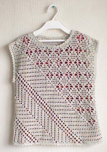 Interesting crochet shirt with diagonal pattern
