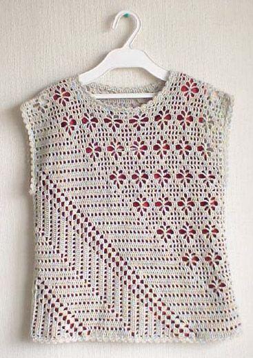 Interesting crochet shirt with diagonal pattern