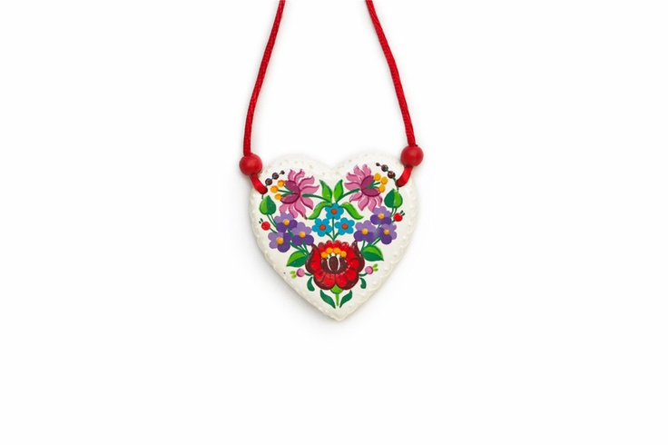 Handpainted wooden necklace with  traditional by mintapalinta, $37.00