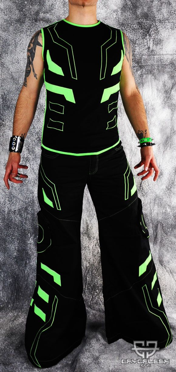 Cryo Tron Outfit Black/Neon Green Male | Rave Outfits in ...