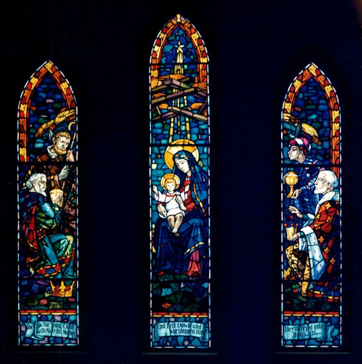 Nativity,  Three Panel Stained Glass Window, by Leo Mol, located in St. Margaret's Anglican Church, Winnipeg