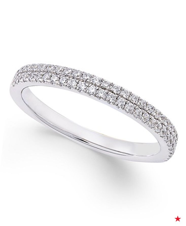 A Double Row Of Micro Pavé Diamonds Adds Spectacular Sparkle To This White Gold Wedding Band For Her The In 2018 Pinterest