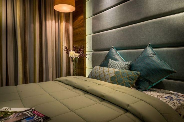 Polsterwand als schicken Bett Kopfteil im Schlafzimmer ...