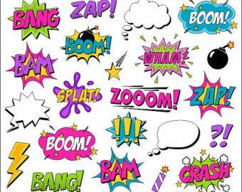 Super héros fille bande dessinée Clipart livre Clip Art bande dessinée texte discours Bubbles - Boom, Zap, Bang, Bam, Crash, Pow sons dictons - YDC109