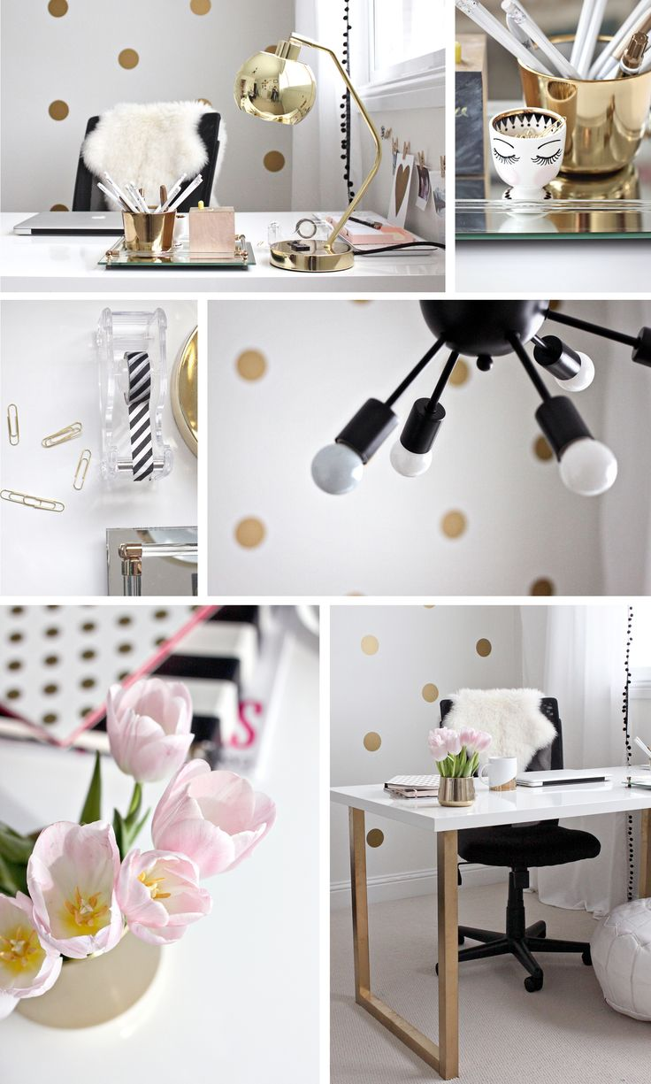 pink black white office black. gold pink home office black white