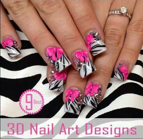Acrylic Nails Hot Pink Zebra Design, Bows, Rhinestone Tips ...