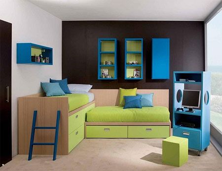 accessories furnitureamusing children bedrooms 2015 decoration design ideas with minimalist wooden bed featuring wall mounted blue color bookcase and