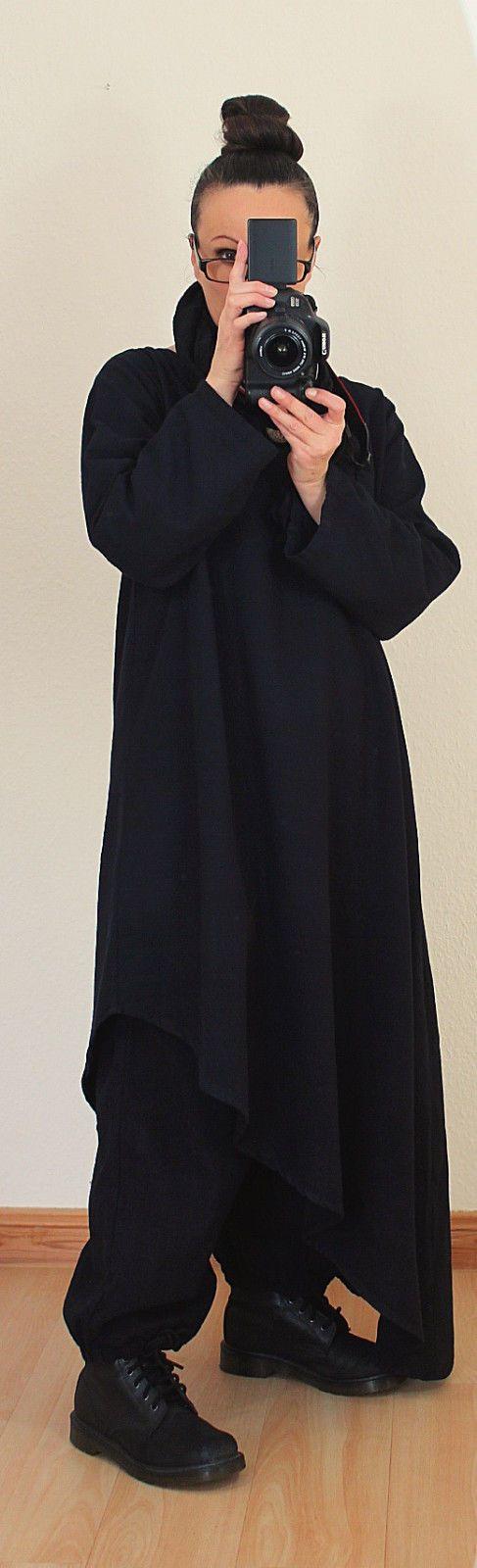 Schwarz 46 48 50 LAGENLOOK LONG TUNIKA KLEID Leinen Kurta asymmetrisch Gothic in Kleidung & Accessoires, Damenmode, Kleider | eBay!