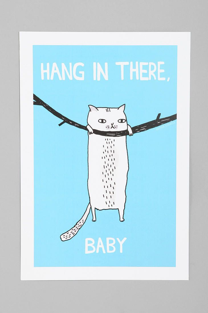 Gemma Correll For Society6 Hang In There Art Print #UrbanOutfitters // nursery.
