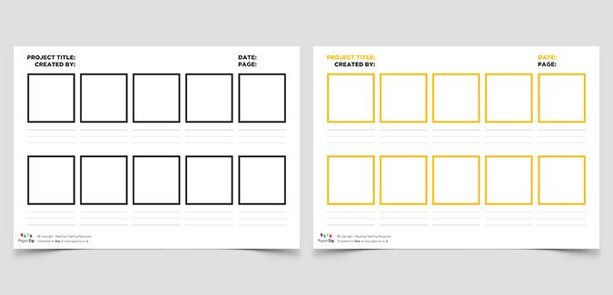 Blank Storyboard Templates In Four Colours Great For Planning
