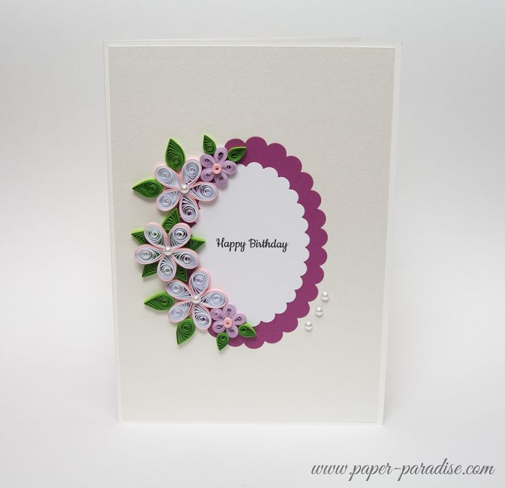 Card Making Paradise Part - 21: Unique Handmade Birthday Card Quilling Pink Quilled Flowers By Paper  Paradise