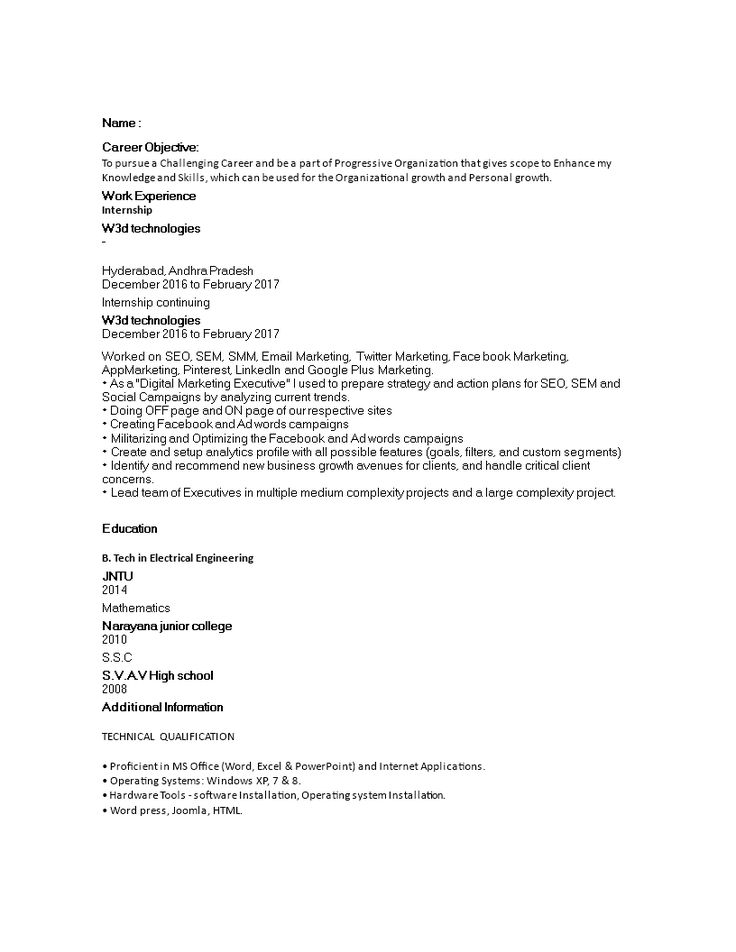Entry Level Digital Marketing Resume How to create an