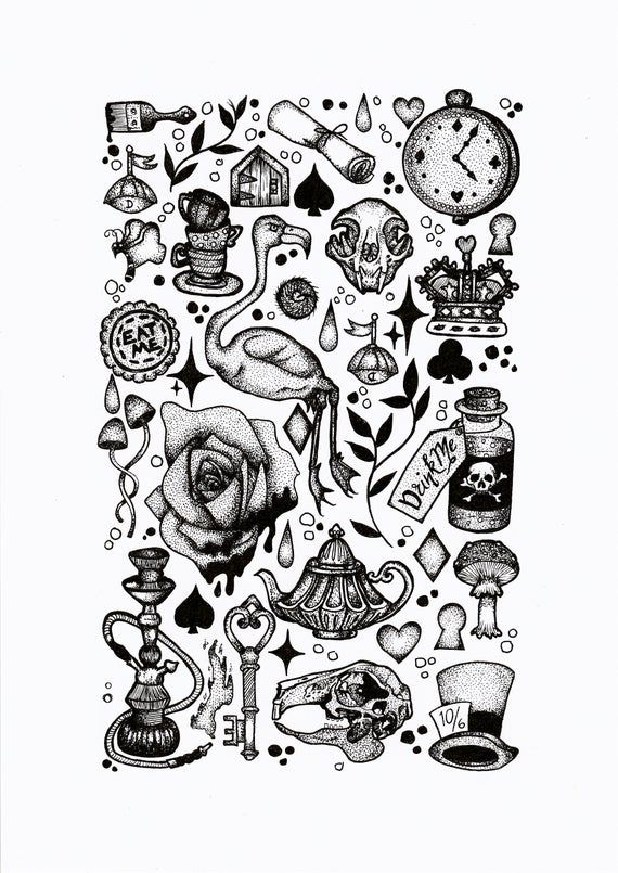 A4 High Quality Card Print A Flash Sheet Featuring Alice In Wonder Alice In Wonderland Tattoo Sleeve Alice In Wonderland Drawings Alice And Wonderland Tattoos