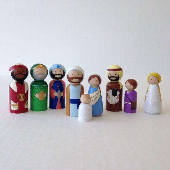 This listing is for nine (9) Christmas Nativity peg dolls. Set includes three Magi, Joseph, Mary, Jesus, Shepherd, Shepherd boy and a Christmas Angel.