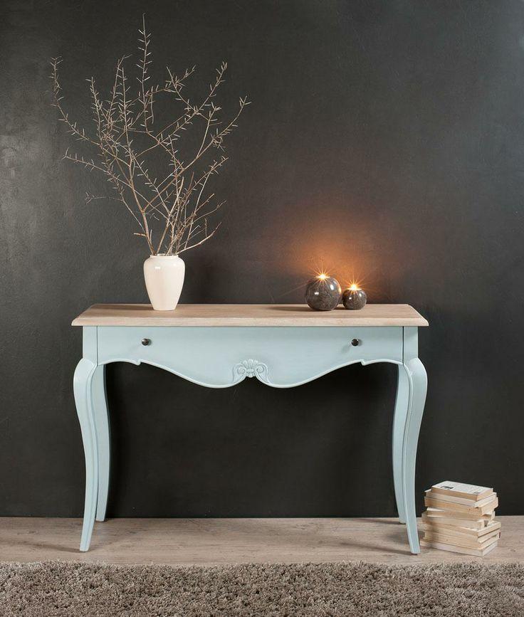 Console en bois tiroir coloris bleu ciel xxcm olympia tek for Salon baroque moderne